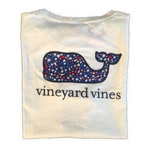 Vineyard Vines White Patriotic Stars Whale T-Shirt